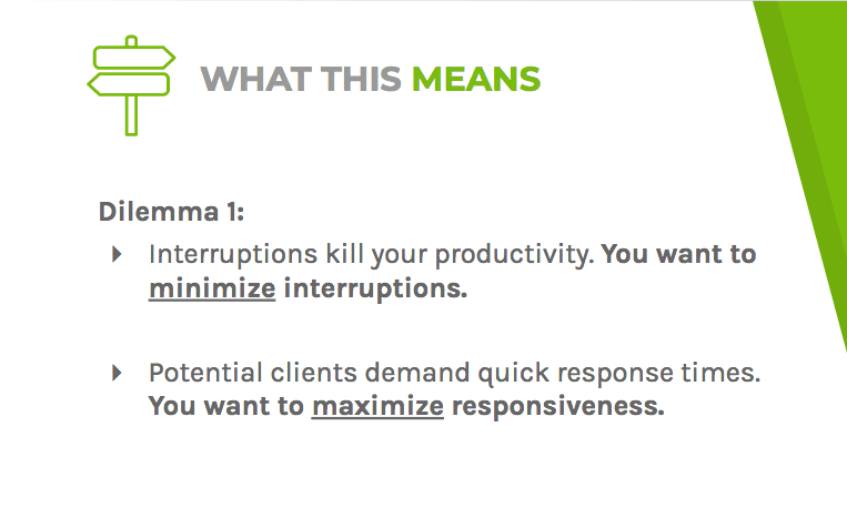 Dilemma one says interruptions kill productivity and potential clients want quick responses