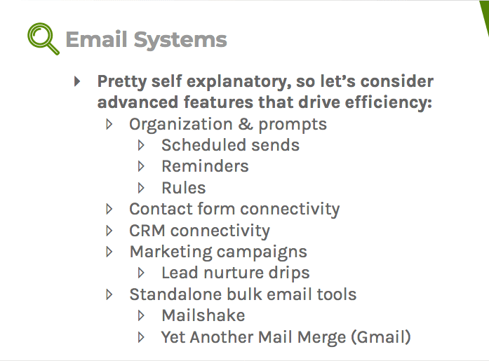 Advanced features of email systems can drive efficiency