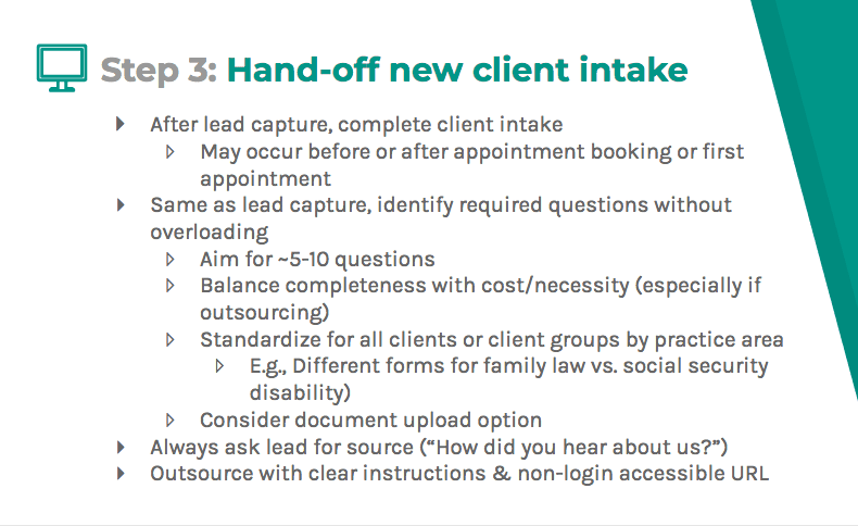Hand-off new client intake