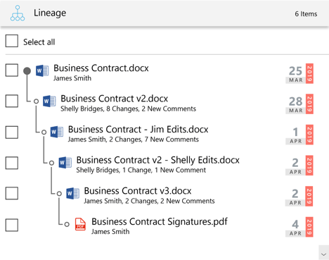 Document lineage example