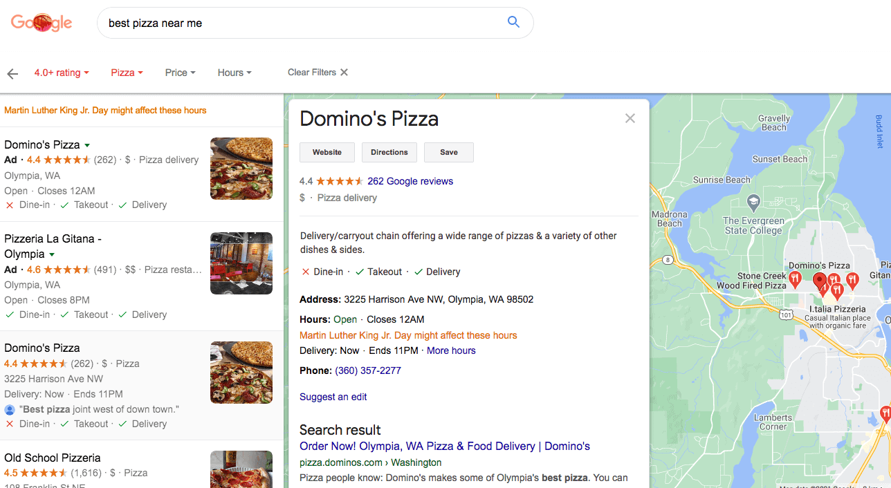 What a Google My Business profile looks like and where you can find it on Google