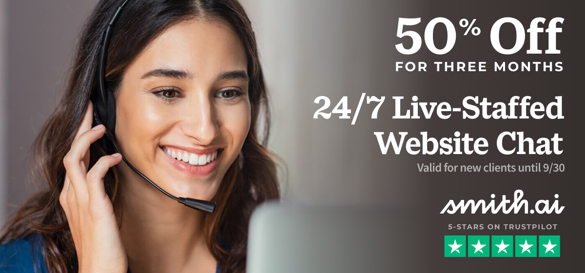 Get 50% Off Smith.ai Live Chat for 3 Months — Ends Sep 30, 2021