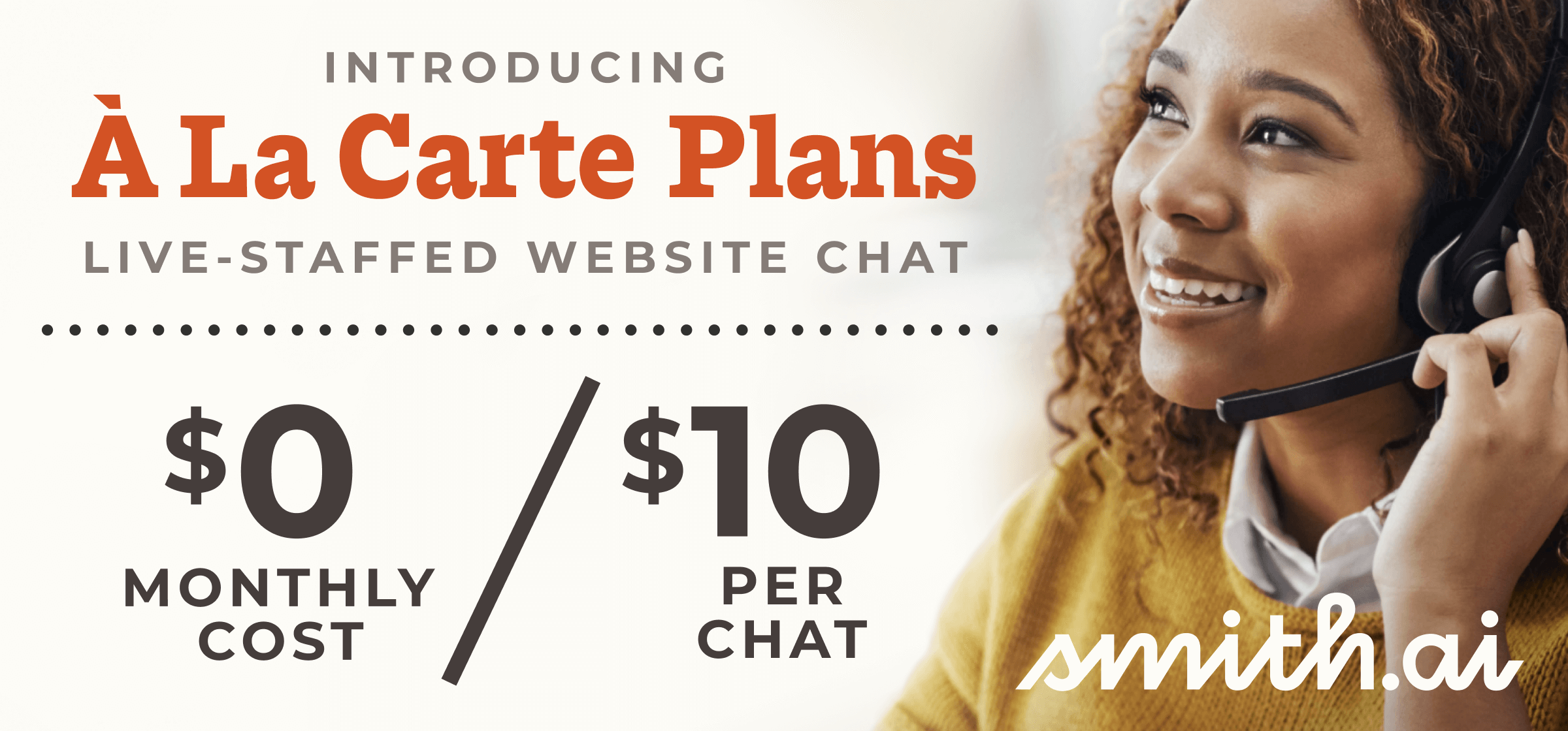 New! À La Carte Plan Offers Live-Staffed Website Chat for $0 Monthly Cost — Only Pay Per-Chat!