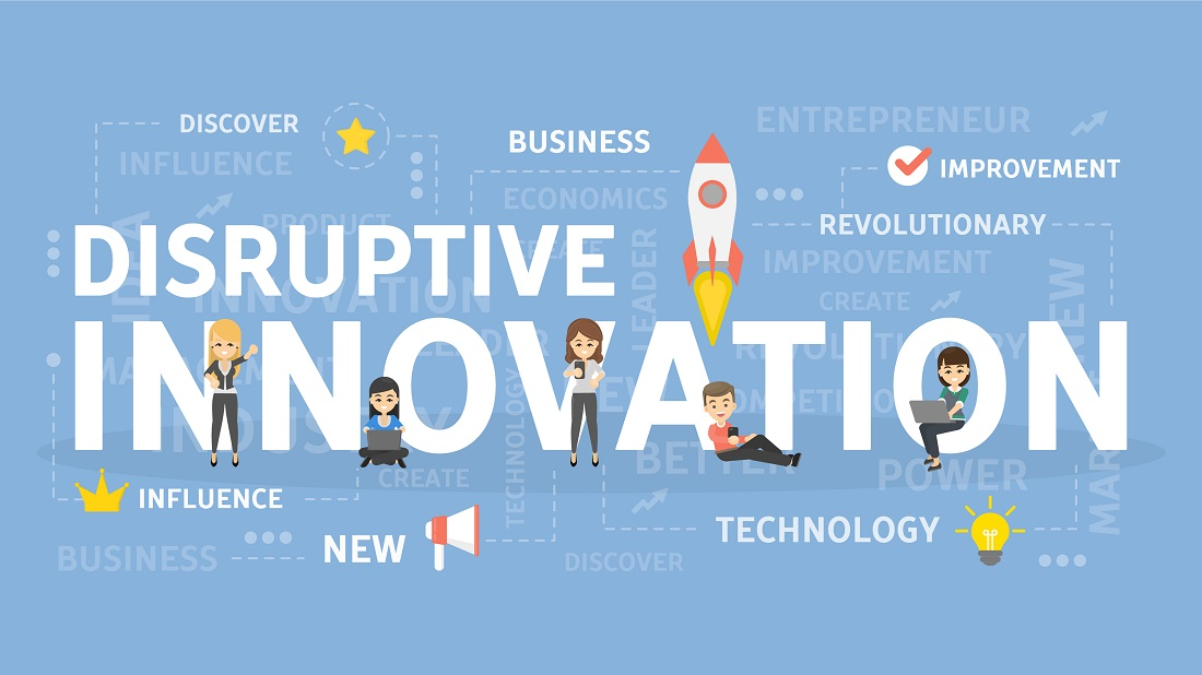 Animated Figures Working Near Disruptive Innovation Text