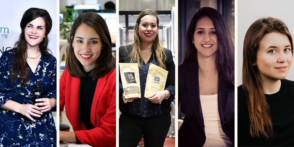 Headshots of Noelle Tassey, CEO of Alley‍, Alexandra Zatarain, Co-Founder and CMO of Eight Sleep, Bertha Jimenez, Founder of RISE, Jas Maggu, Co-Founder & CEO of Galaxi.Ai, and Brianna Carney, Co-founder of CrewBloom.