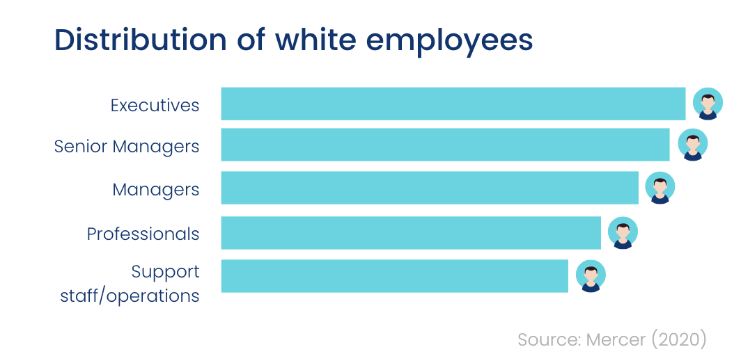 Distribution of white employees by career level