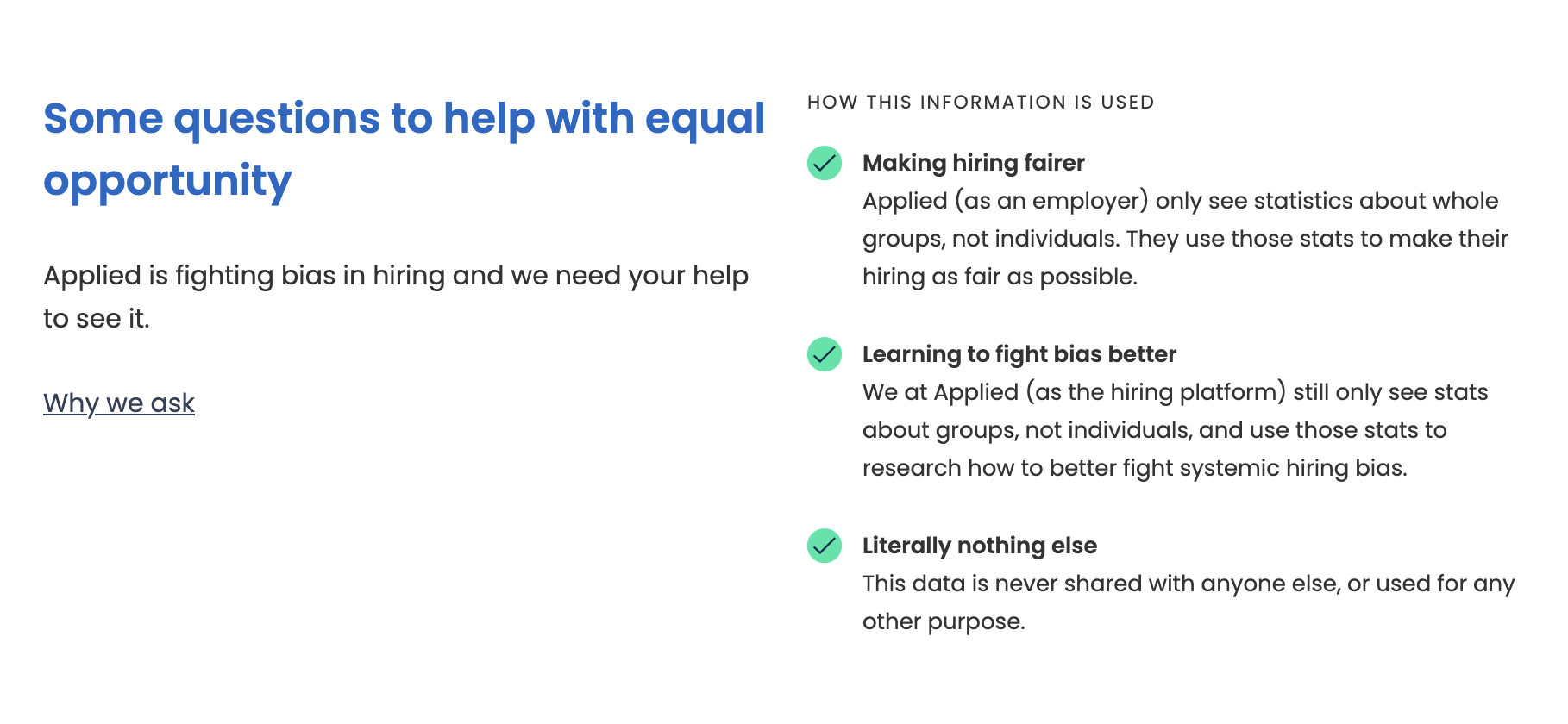 Equal opportunities form explainer copy