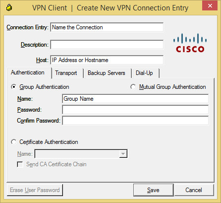 Windows VPN Connection Entry