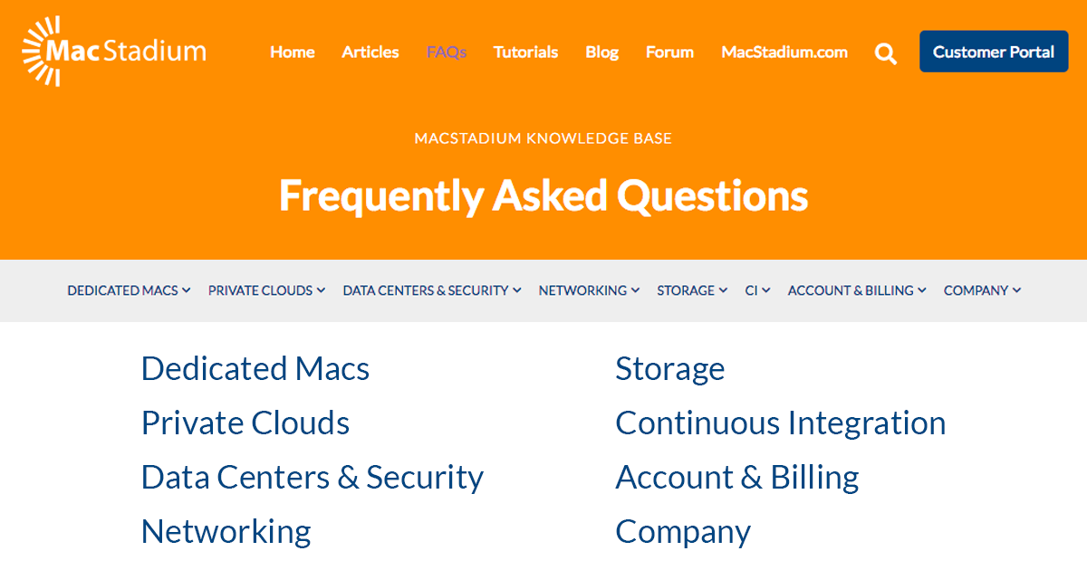 MacStadium - Frequently Asked Questions