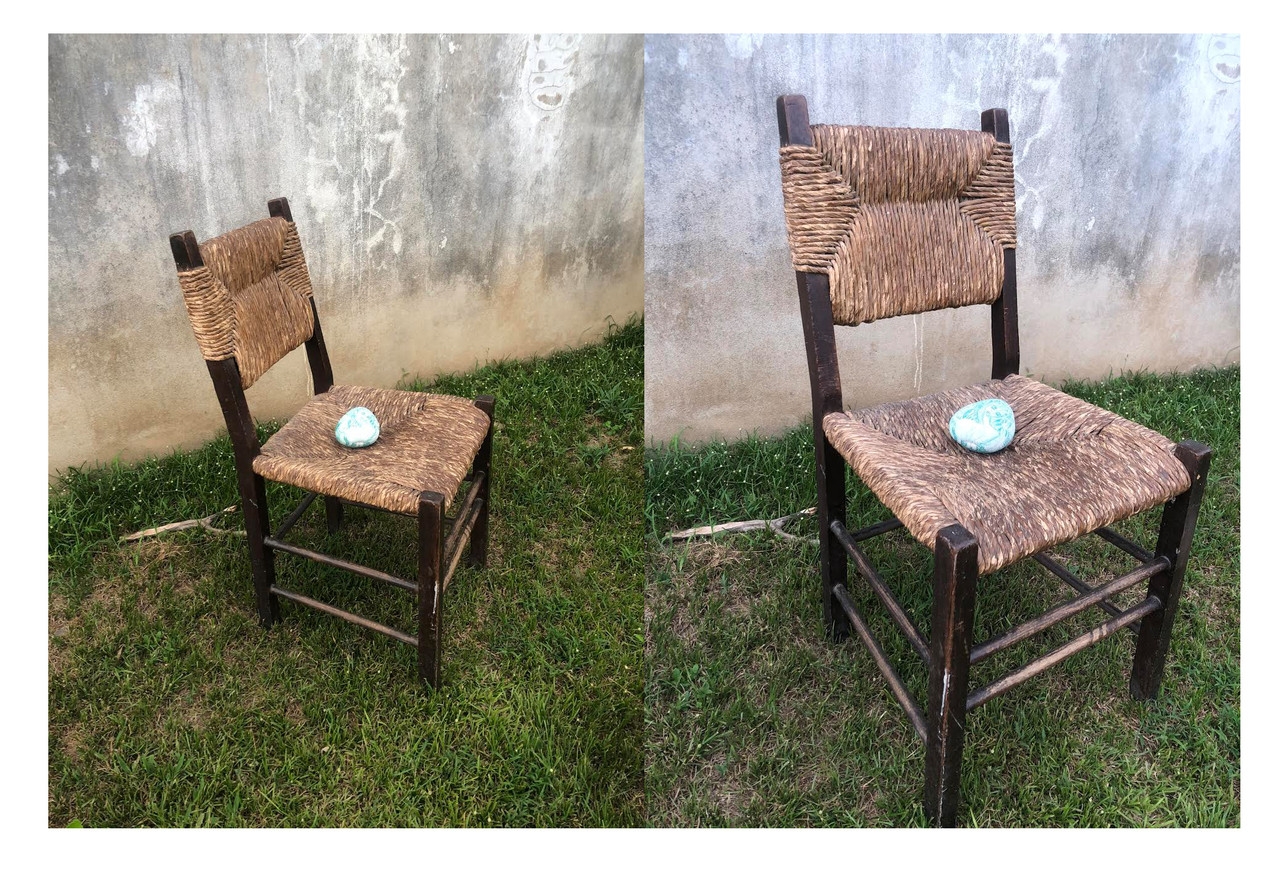 Two alternate views of a Villalobos family hand-crafted chair made of wood and woven material.