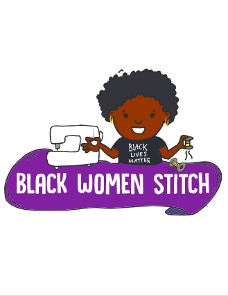The Black Women Stitch logo. A cartoon drawing of black woman with a 'Black Lives Matter' t-shirt on with a sewing machine.