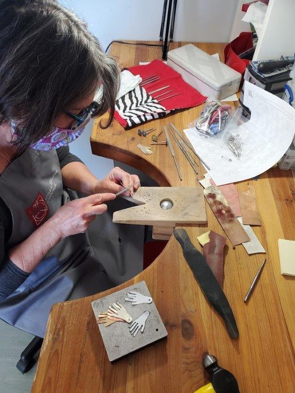 Artist Iris Eichrenberg at work in the studio.