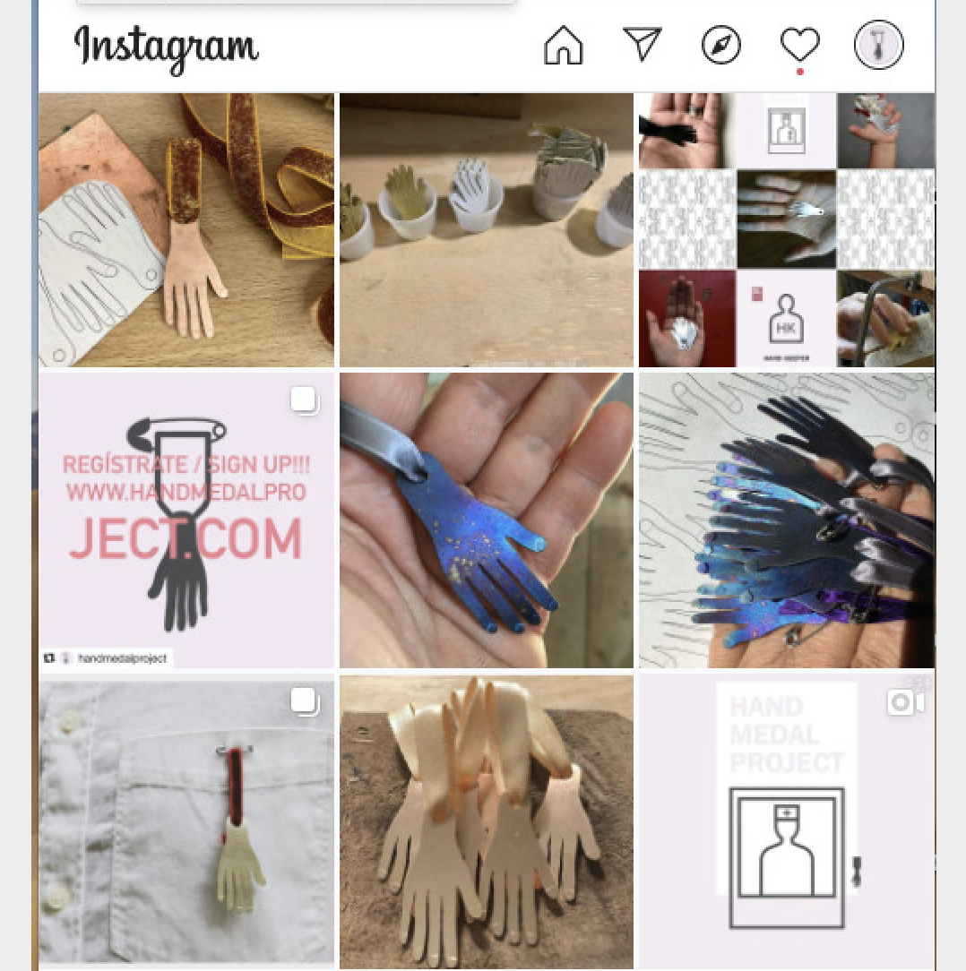 An instagram post of various jewelry and apparel made with little copper hands.