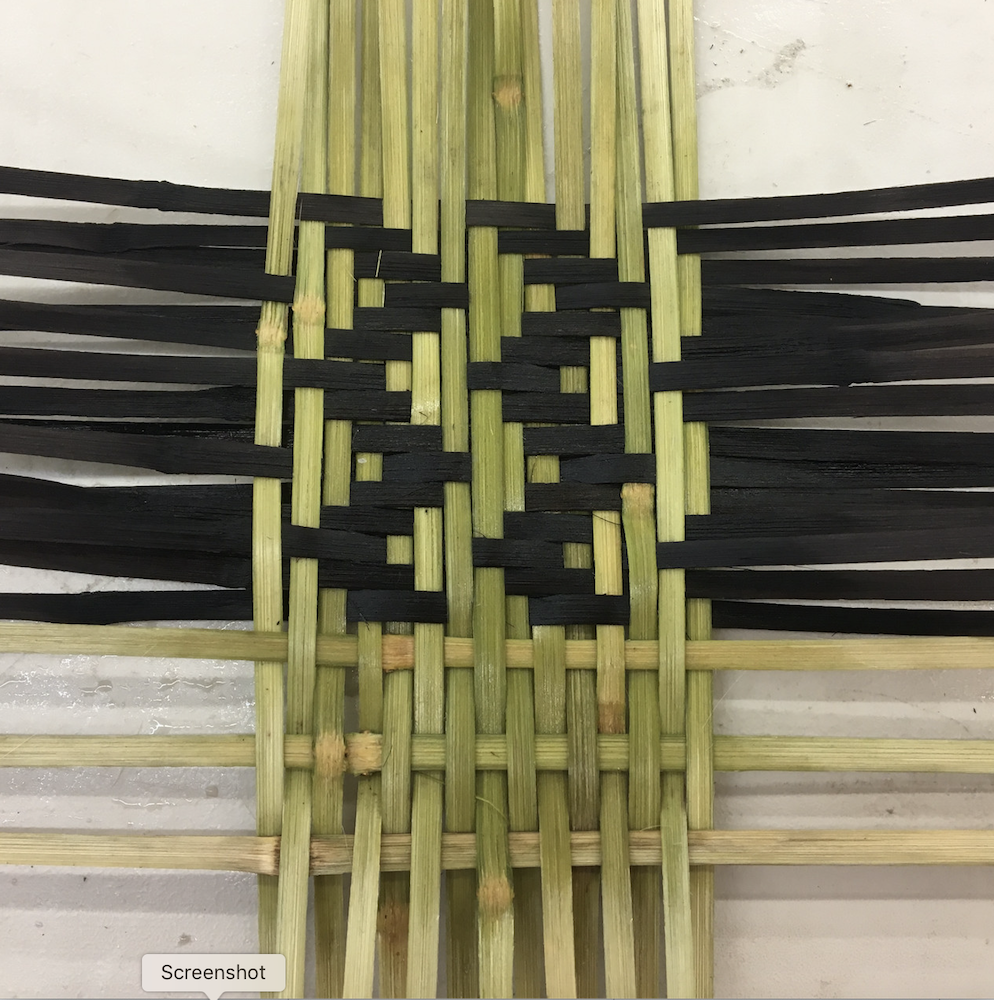 A weaving made of river cane in a zigzag pattern by Emily Rodgers a Craft Futures Fund awardee.