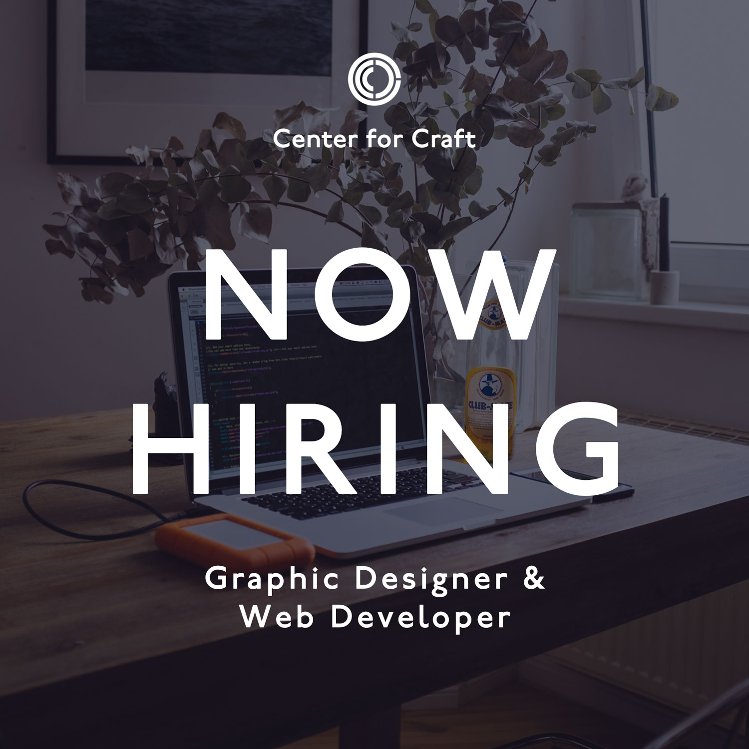 "image graphic reading ""now hiring graphic designer and web developer"" with laptop and desk in the background"