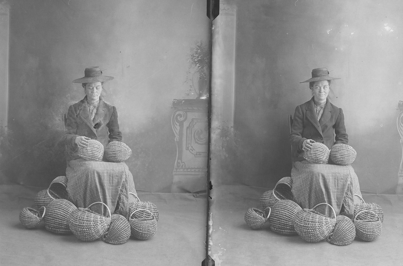 Old black and white image. Two similar images side-by-side. In the left image, a basket maker is looking down at her baskets. In the right, she looks at the camera.