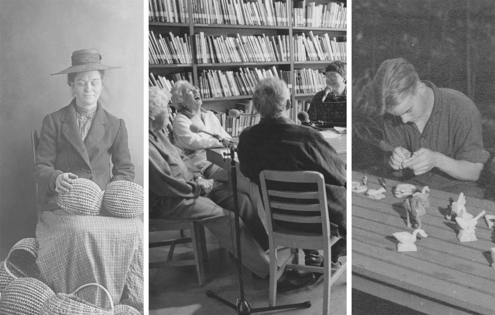 three black and white photos side-by-side, including a basket weaver and wood carvers, for an exhibition