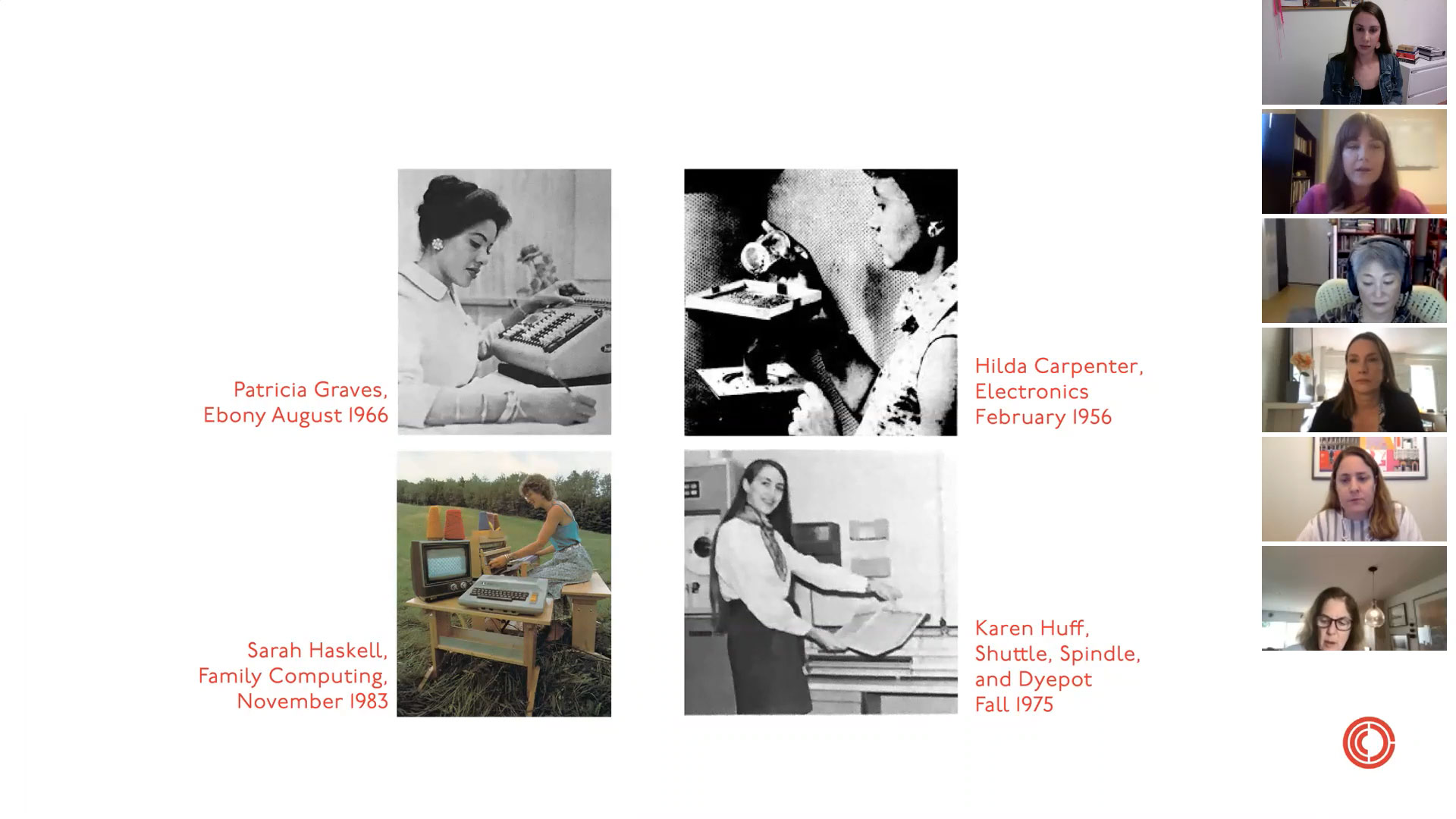"Screenshot from zoom webinar panel discussion ""Ask the Curator"" showing a slide presentation, displaying four images of historic textile and computer programmer women. To the right, a row of windows showing others on the zoom call."