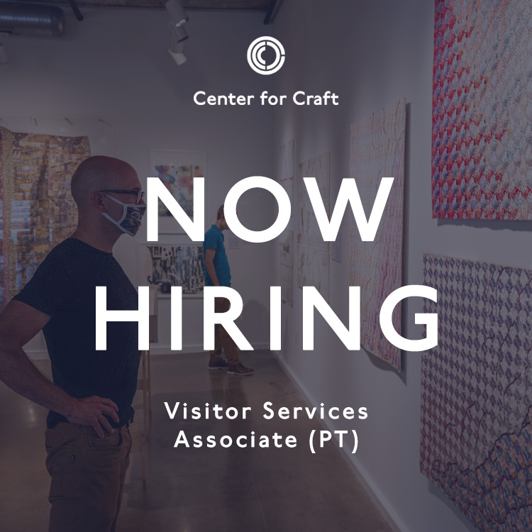 "image graphic reading ""now hiring visitor services associate"" with person viewing a gallery exhibition in the background"
