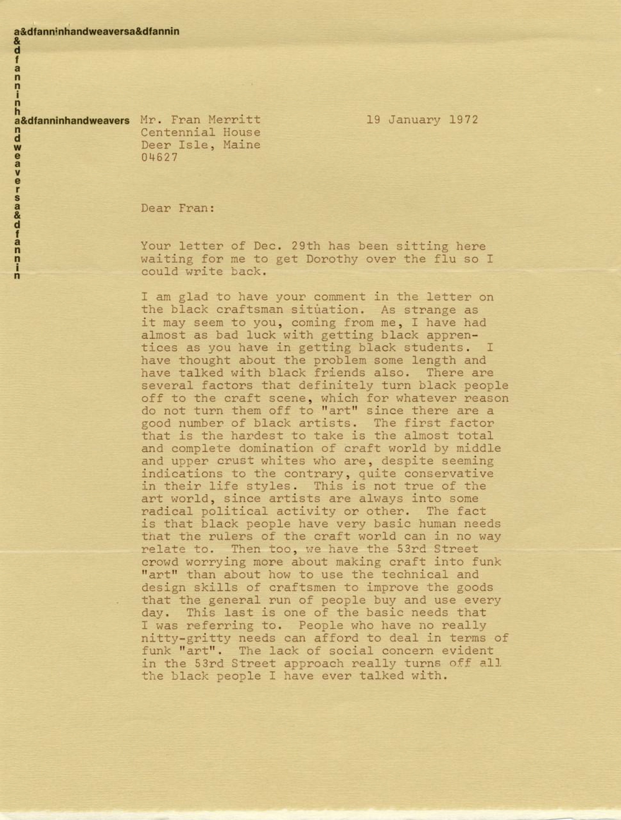 scan of a letter on yellowed paper, seemingly typed on a typewriter