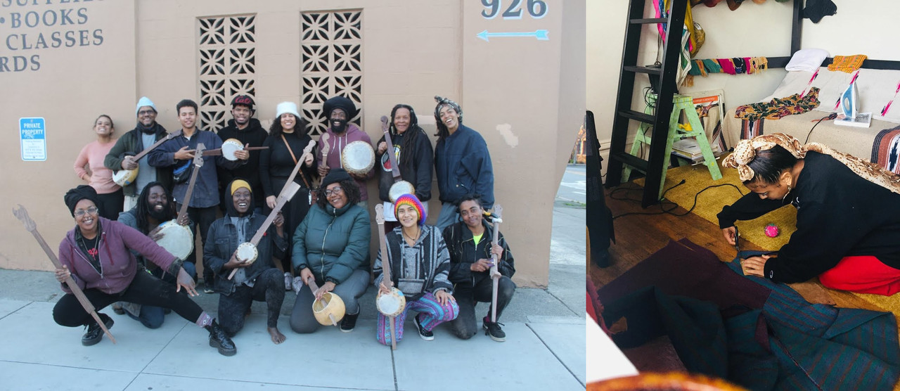 two images, left, group photo taken outdoors, everyone smiling, holding handmade string instruments such as banjos, right, woman kneeling on the ground, working on a sewing project.
