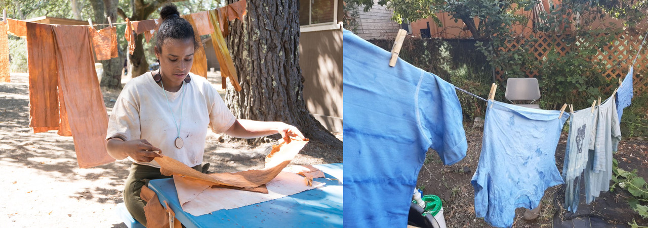 two images, left, a woman on a sunny day dying fabric outdoors with more textile hanging in the background, right, dyed fabrics hanging on a clothes line.