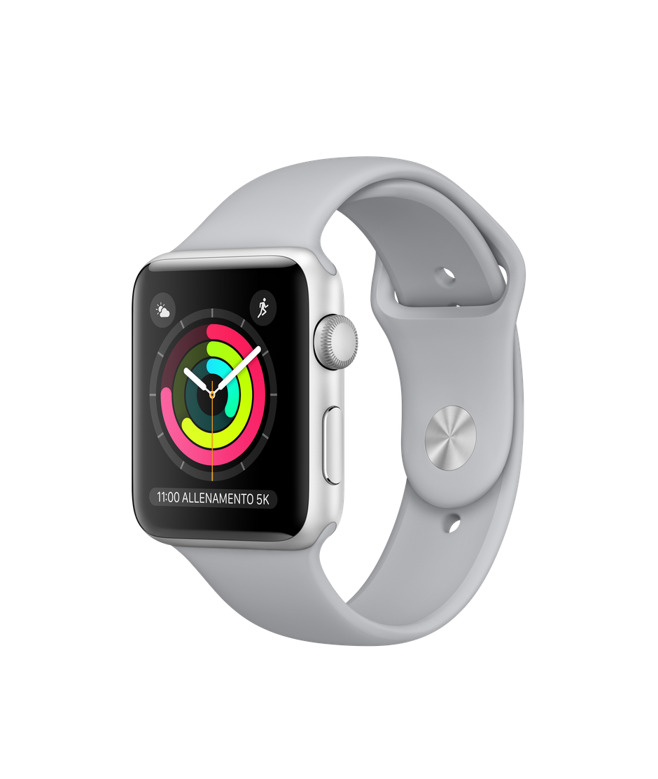 Apple Watch Series 3 GPS, 38mm Silver Aluminium Case with Fog Sport Band