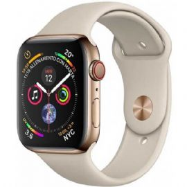 Apple Watch Series 4 GPS + Cellular, 44mm Gold Stainless Steel Case with Stone Sport Band
