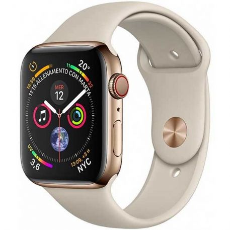 Apple Watch Series 4 GPS + Cellular, 40mm Gold Stainless Steel Case with Stone Sport Band