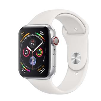 Apple Watch Series 4 GPS + Cellular, 40mm Silver Aluminium Case with White Sport Band