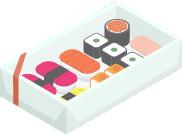 A box of sushi on a fridge shelf