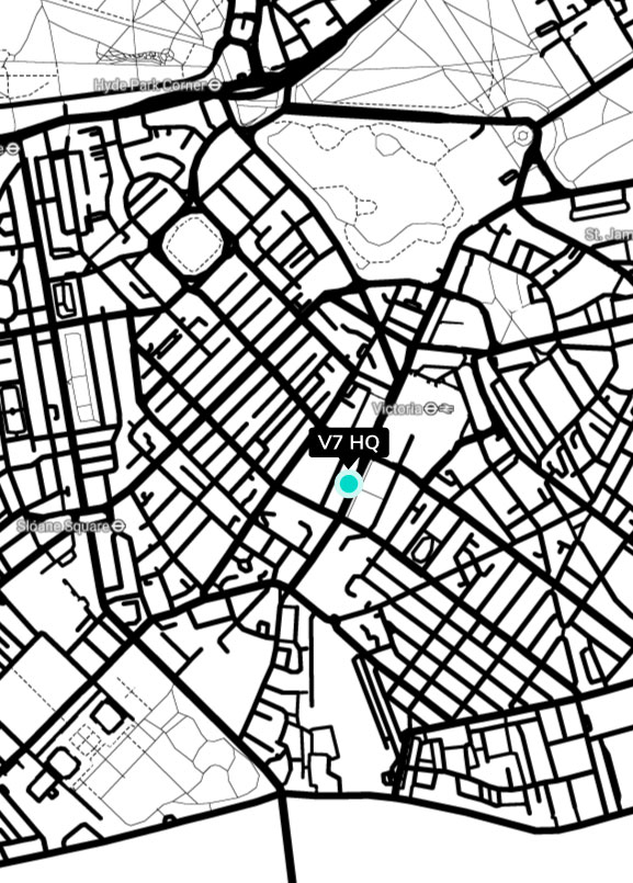 A map of London with V7's address