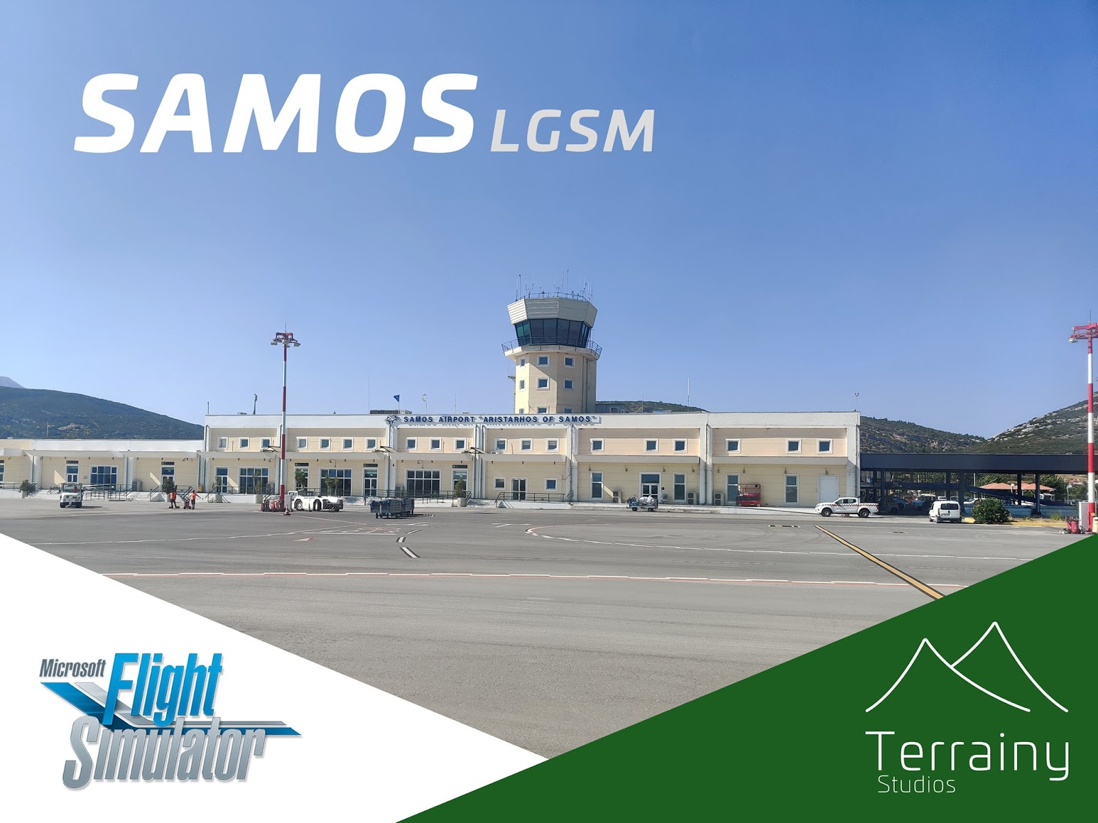 """Image may contain: sky and outdoor, text that says """"SAMOSL LGSM Microsoft Flight Simulator Terrainy Studios"""""""