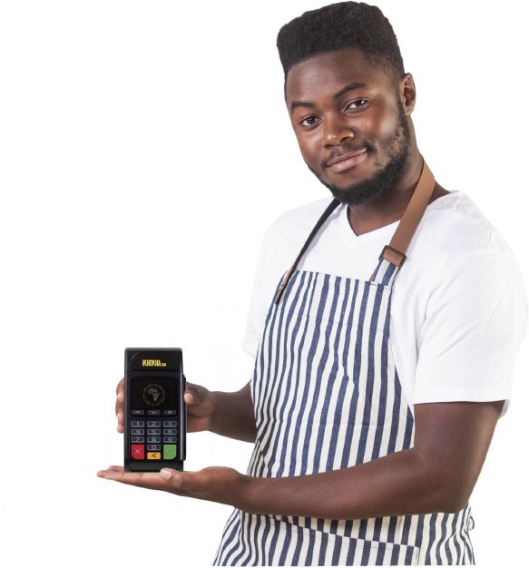 restaurant  owner with ikhokha card machine