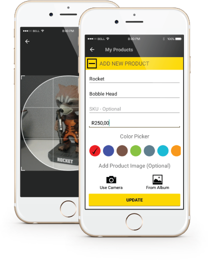 ikhokha manage products app screens