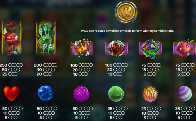 forest mania slot paytable
