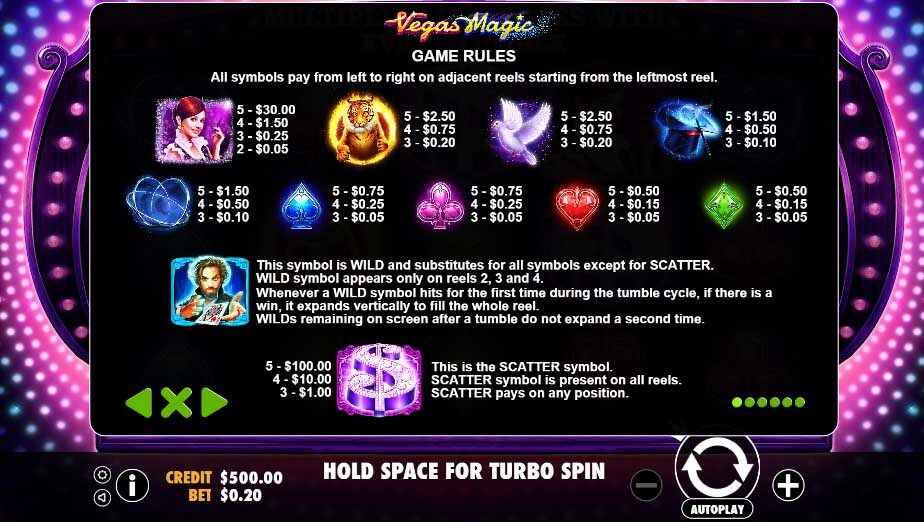 vegas magic slot paytable