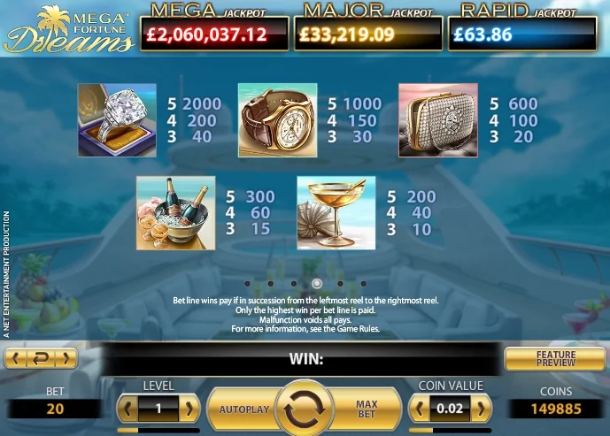 Mega-fortune-dreams-paytable