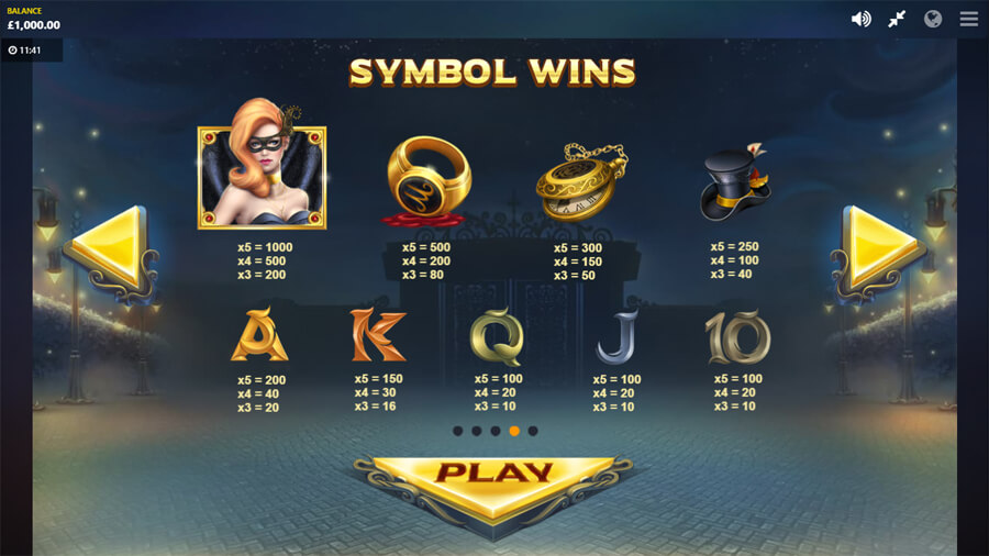 masquerade slot paytable