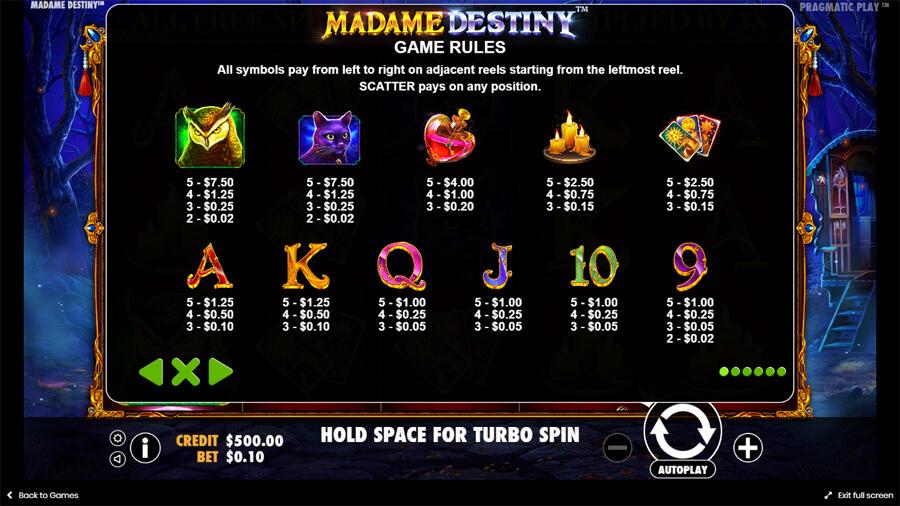 madame destiny slot paytable