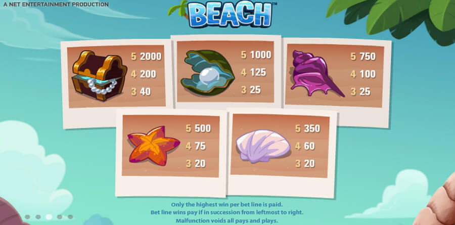 beach slot paytable