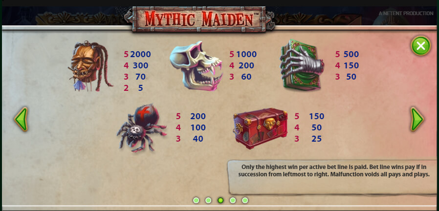 mythic maiden slot paytable
