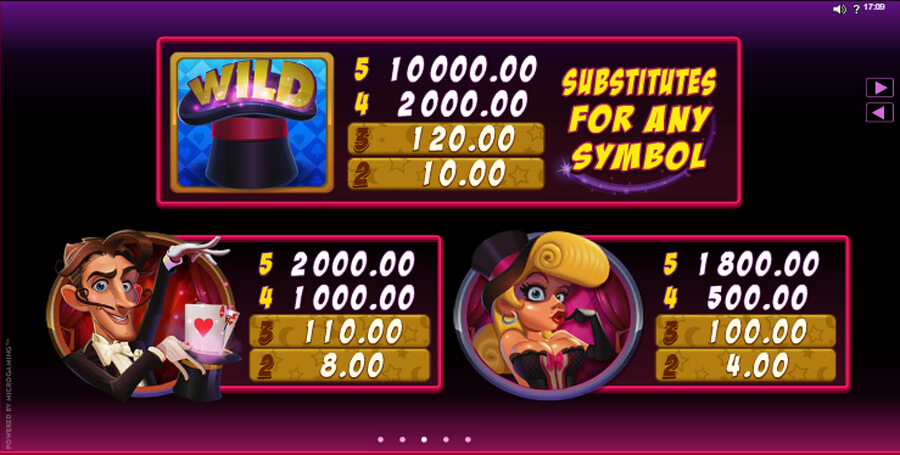 Rabbit in the Hat slot paytable