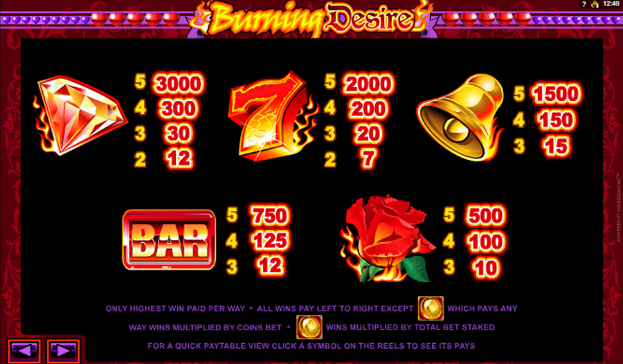 burning desire slot paytable