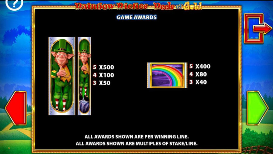 Rainbow Riches Reels of Gold paytable