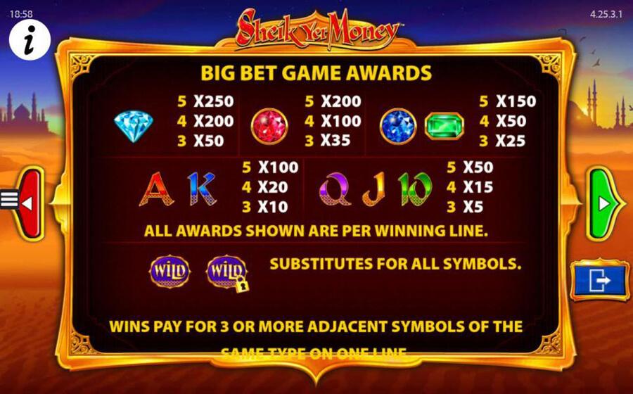 Sheik Yer Money paytable