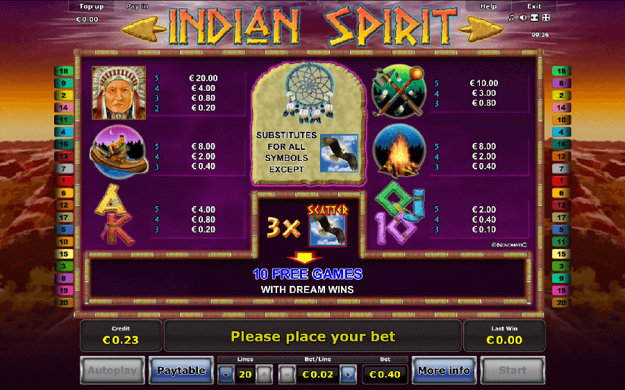 Indian Spirit slot paytable