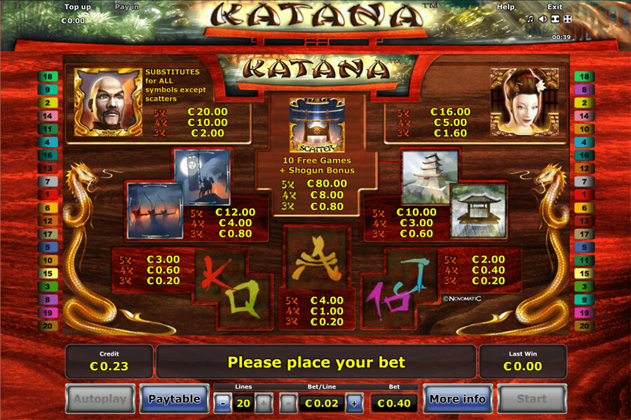 katana slot paytable