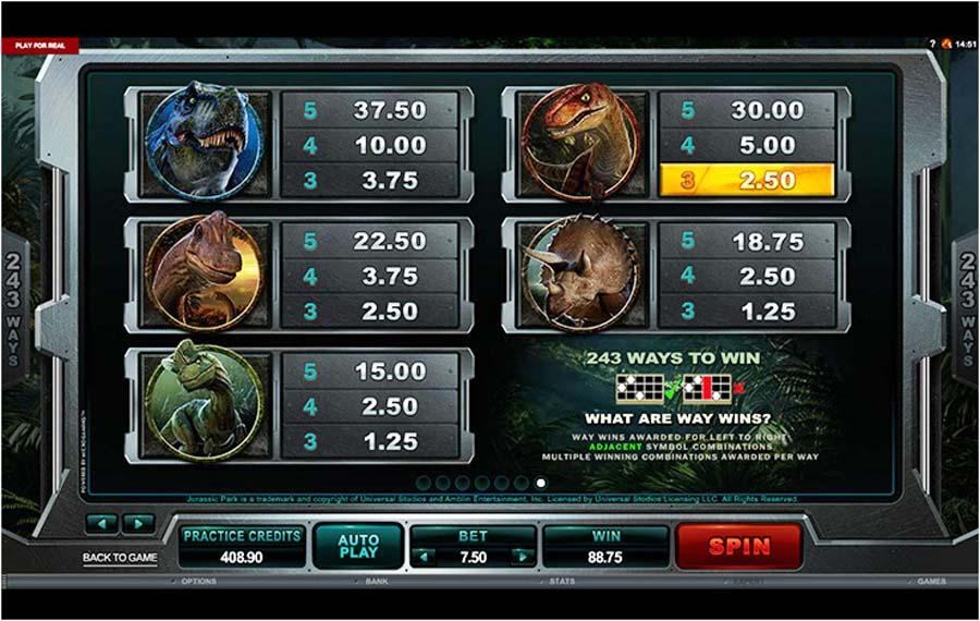 Jurassic Park slot paytable