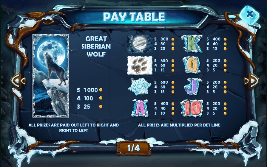 Siberian Wolf slot paytable